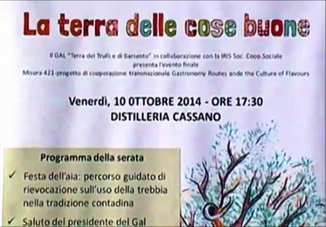 """GAL Terra dei Trulli e Barsento progetto""""La Terra delle cose buone"""" Gioia del Colle 10/10/2014"""